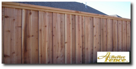 Top view of decorative board on board wooden privacy fence