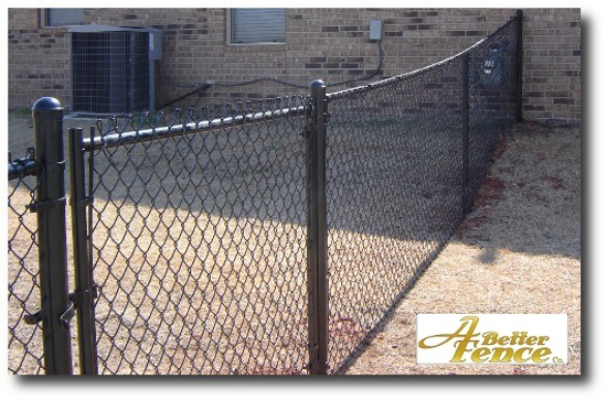 black vinyl covered coated chain link fence
