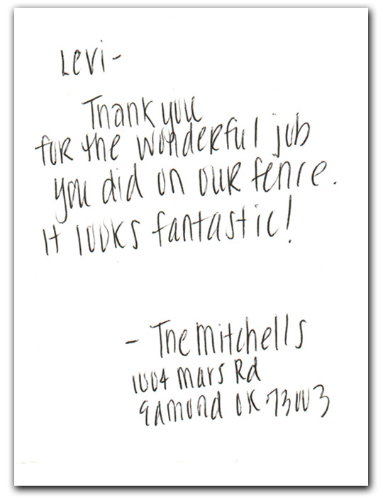 Mitchell's fence thank you card review inside