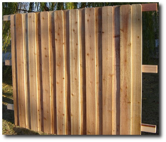 Decorative style absolute privacy fence panel, made in Oklahoma City, Oklahoma.  Cedar pickets, 2