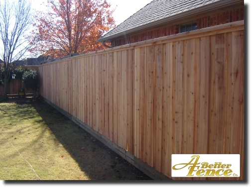 Decorative privacy fence, board on board, installed Oklahoma City, Oklahoma