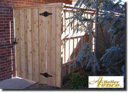 Front entrance gate to decorative privacy fencing