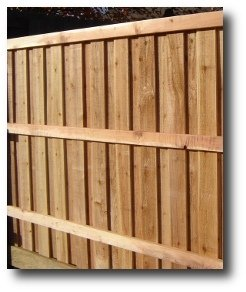 Decorative absolute privacy fence panel, cedar pickets, redwood backrail stringers, 6